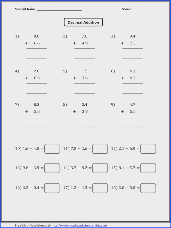 Decimal Addition Worksheets Kindergarten Adding And Subtracting Decimals Worksheets 4th Grade Free Decimal Decimal Addition Worksheets Kindergarten