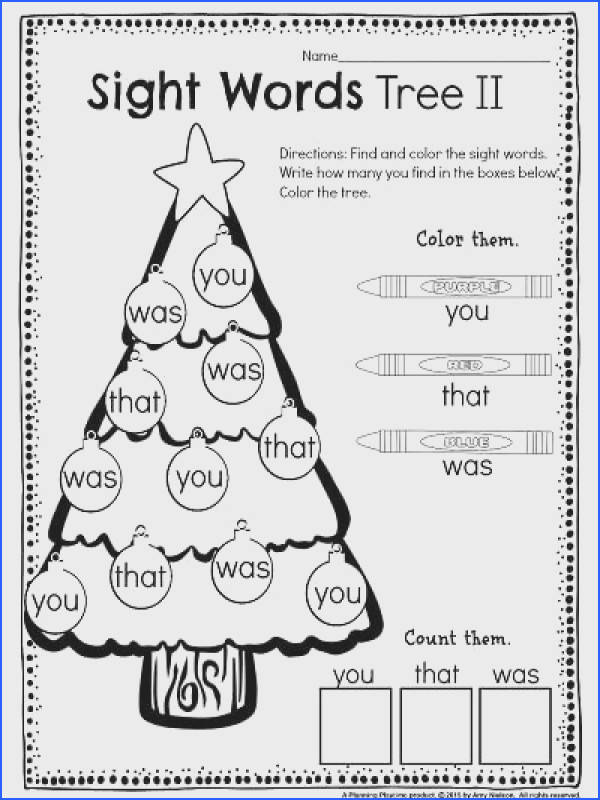 Kindergarten Math and Literacy Worksheets for December Sight Word