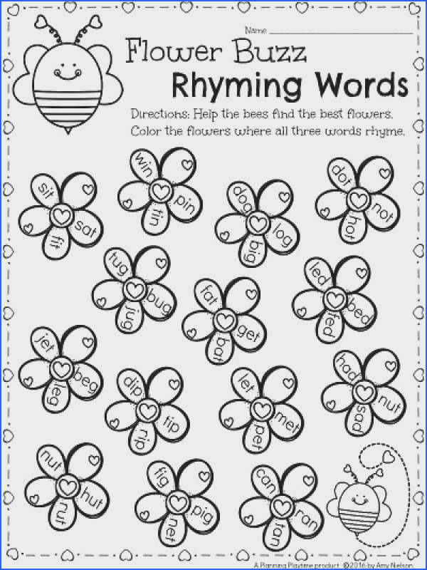 Rhyming Words Kindergarten worksheet for February Color the flowers where all three words rhyme Lots of other fun worksheets in this set