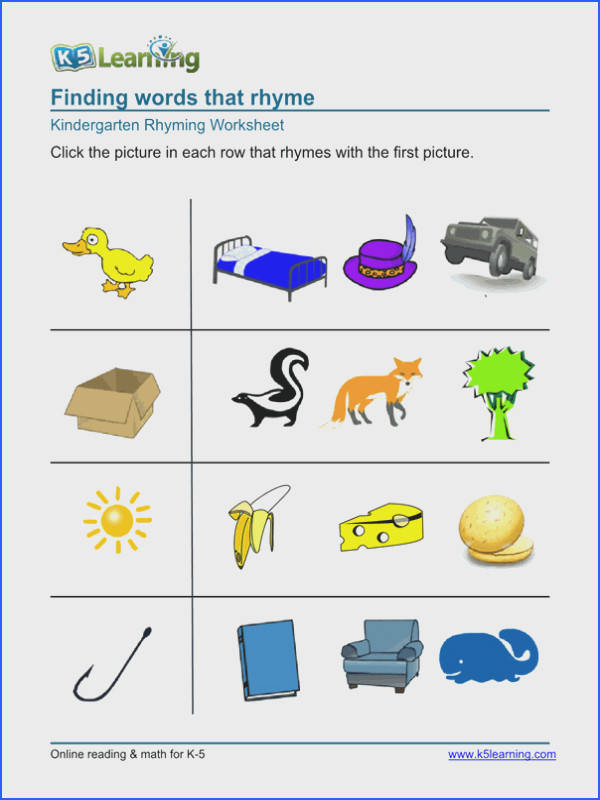 Kindergarten rhyming worksheet