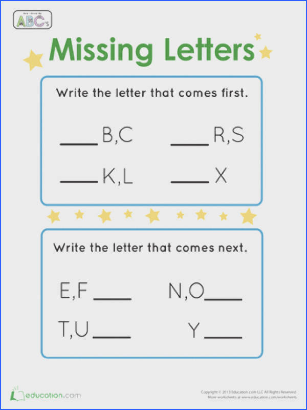 Kindergarten Letters The Alphabet Worksheets Fill In the Missing Letters