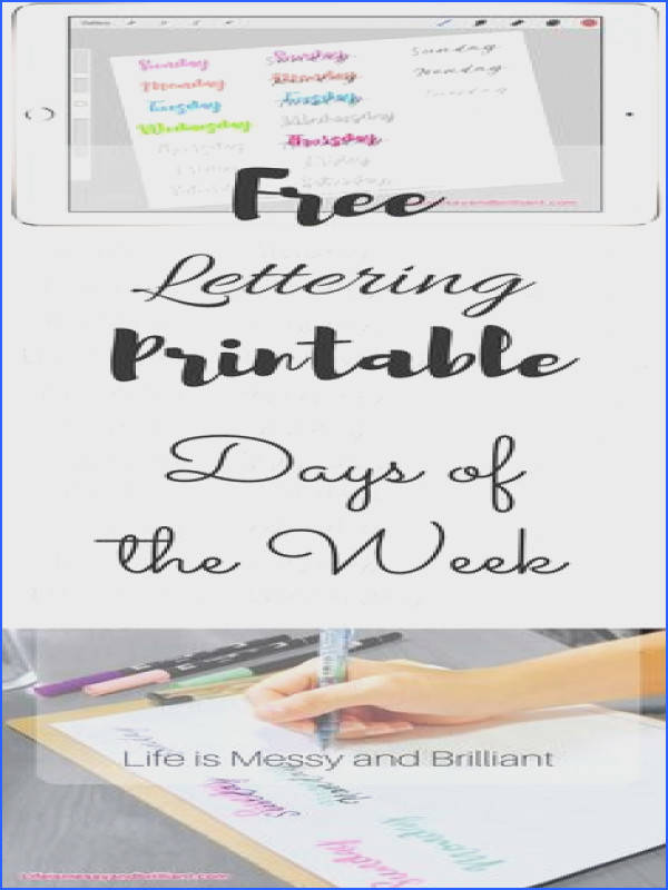 Days of the Week Lettering Bullet Journal Printable free lettering practice sheets free lettering