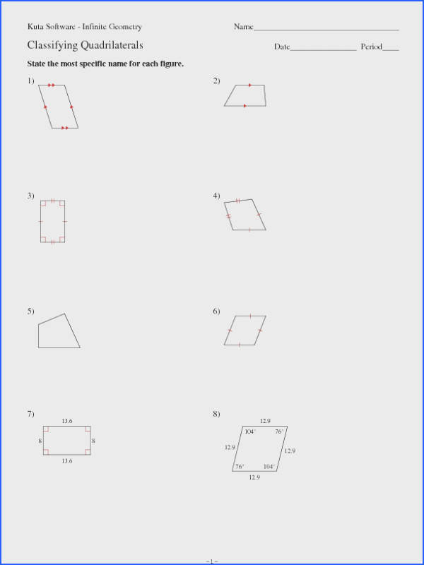 Kuta Software Infinite Geometry Classifying Quadrilaterals Worksheet for 9th 12th Grade