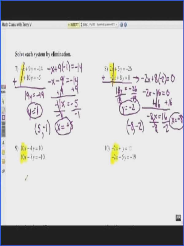 kuta worksheets solve systems of equations elimination method youtube