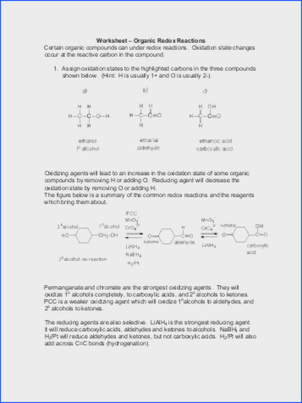 "Worksheet ¢€"" Organic Redox Reactions Certain organic pounds"