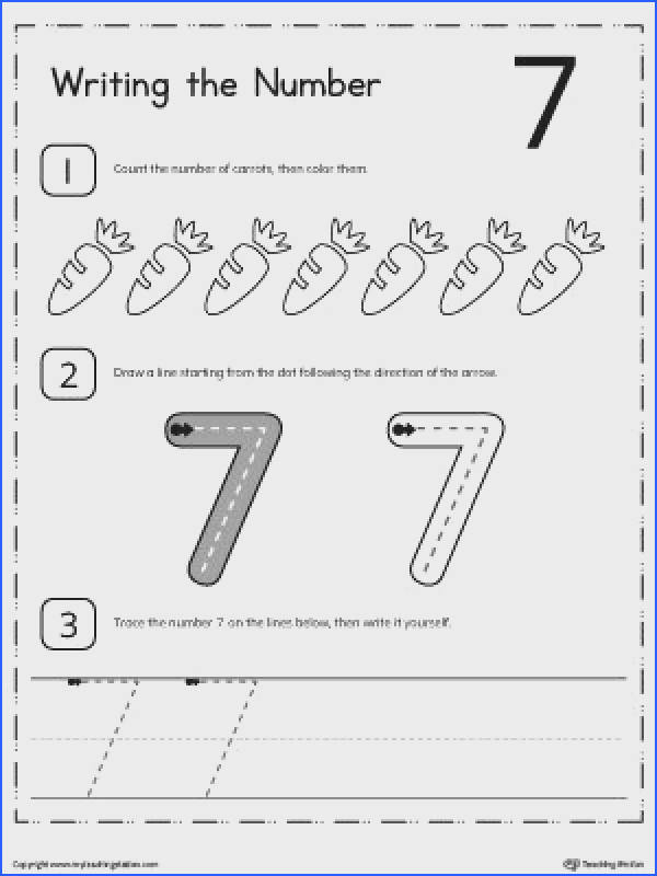 FREE Learn to Count and Write Number 7 Worksheet Teach your