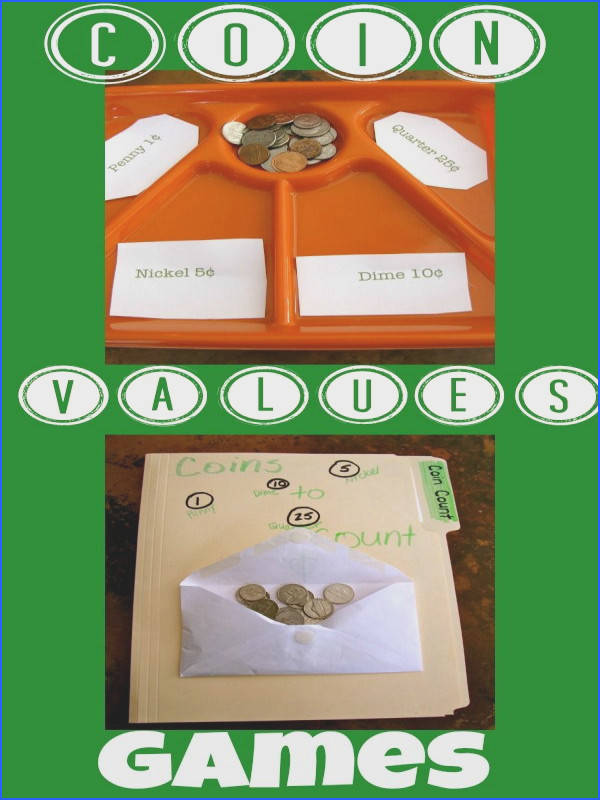 Easy to make Coin Values Games for teaching kids about money