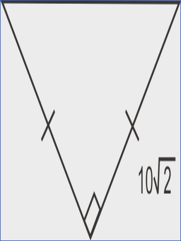 Find the lengths of the other two sides of the isosceles right triangle below