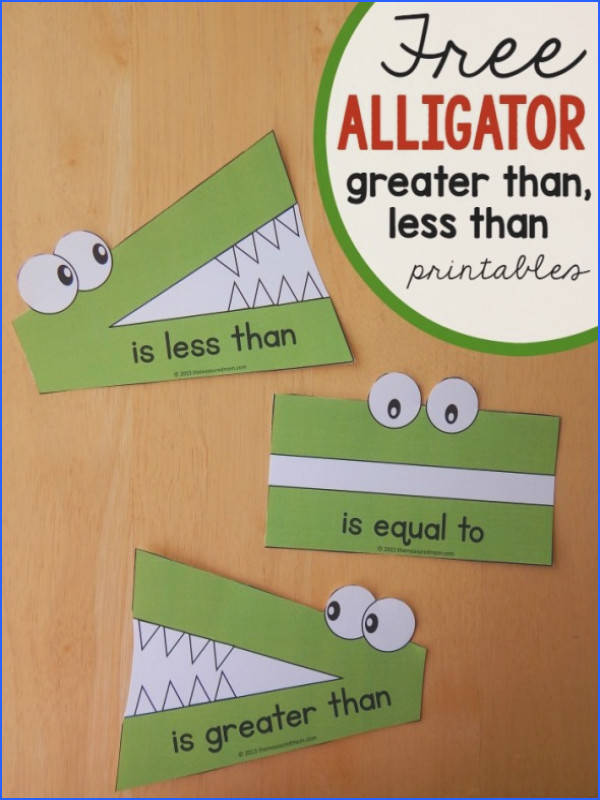 These alligator great than less than printables are wonderful for paring numbers