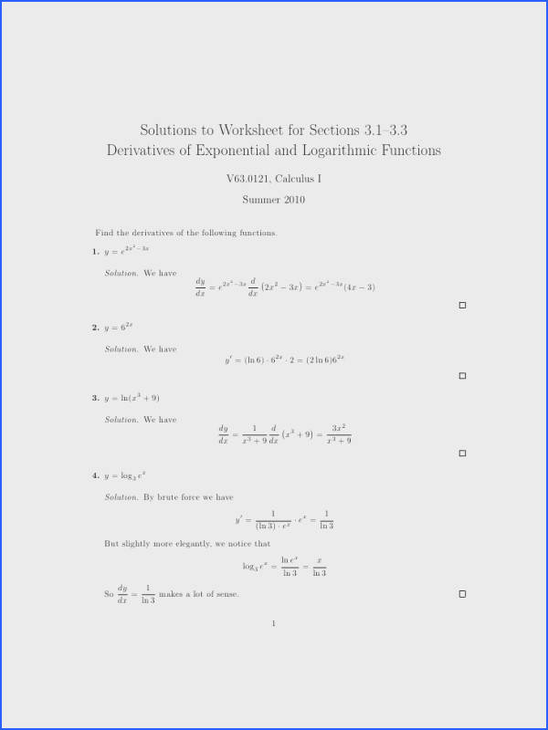 Solutions to Worksheet for Sections 3 1–3 3 Derivatives of Exponential and Logarithmic Functions