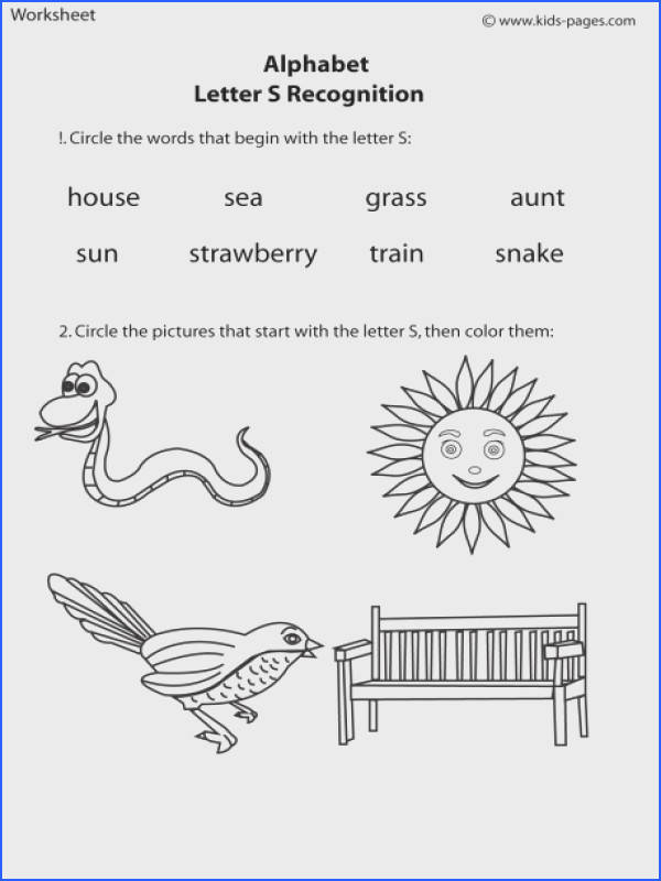 Letter S Recognition worksheets