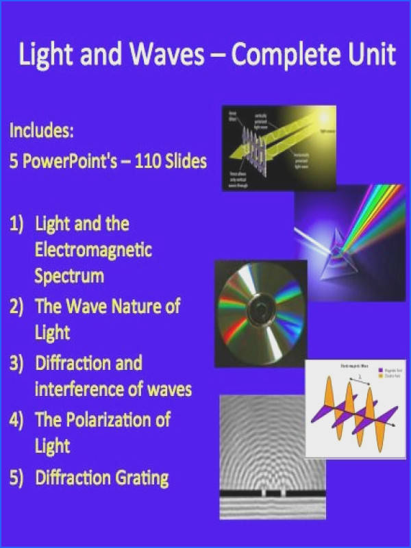 Light and Waves plete Unit PowerPoint Lessons Worksheets & Assessments
