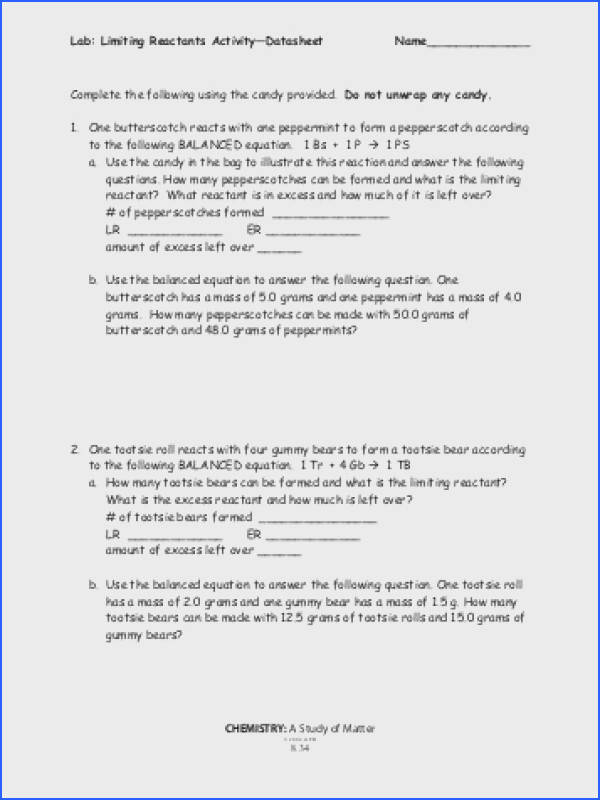 Limiting and Excess Reactants Worksheet Unique Episode 803 Lab s Limiting and Excess Reactants Worksheet
