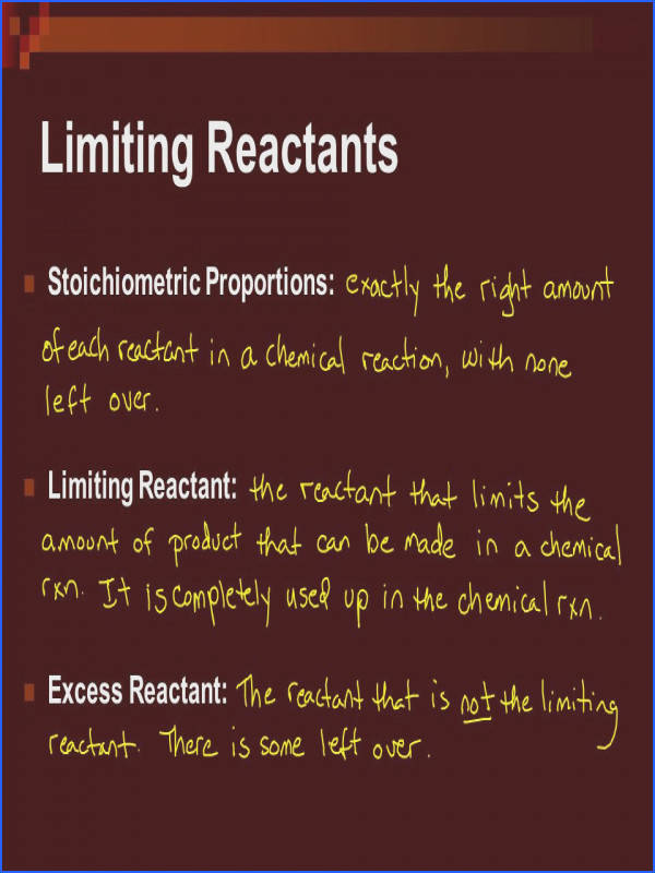 Limiting and Excess Reactants Worksheet Fresh Stoichiometry with Chemical Reactions Ppt Video line Limiting