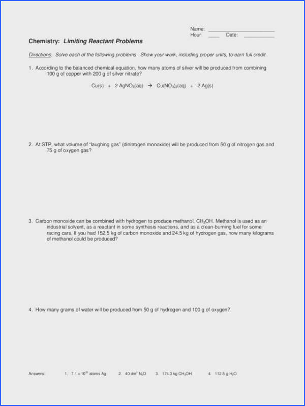 Limiting Reactant Problems Worksheet for 10th Higher Ed