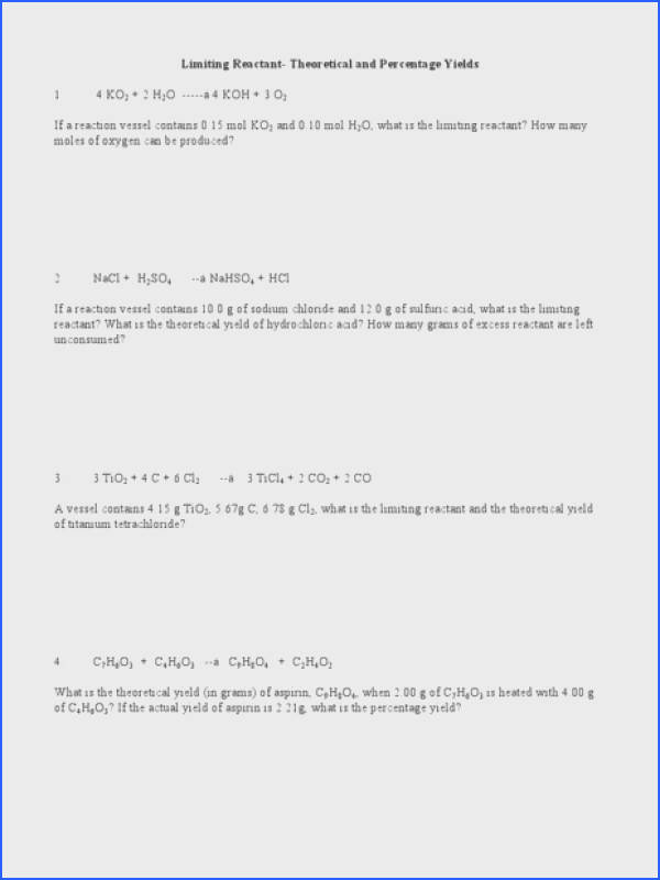 Limiting Reactant Theoretical Yield and Percent Yield Worksheet for 10th Higher Ed