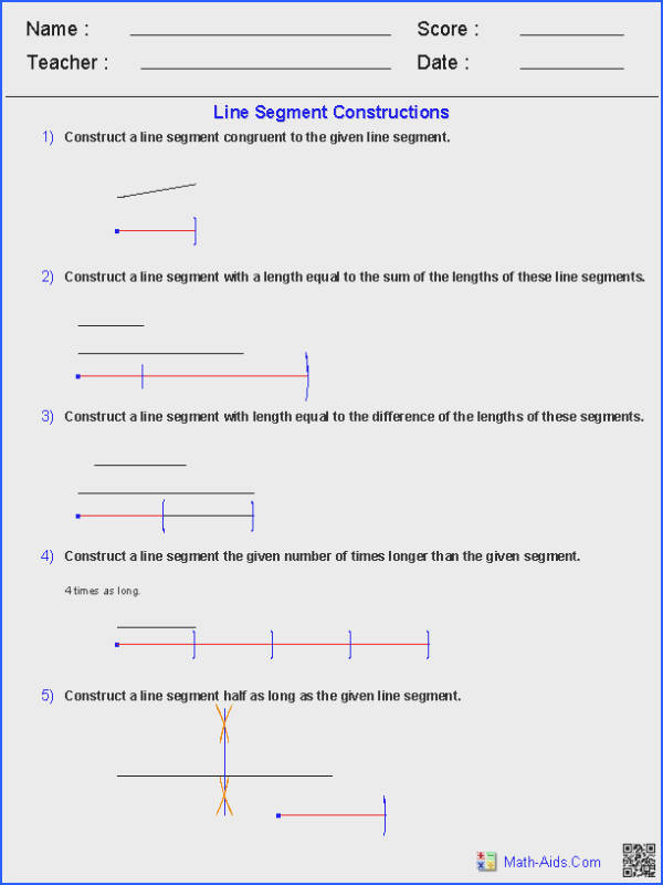 Line Segments Constructions Worksheets