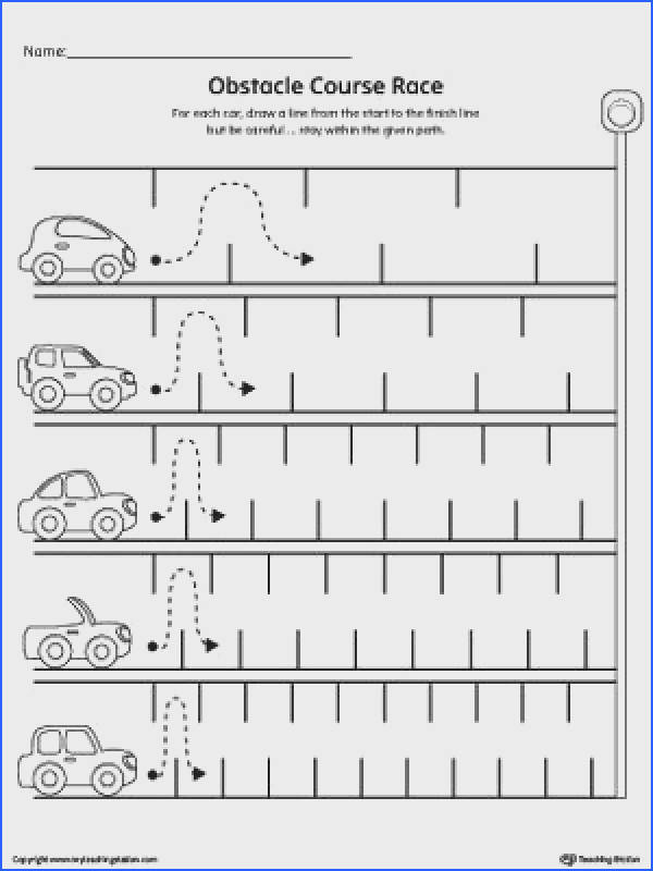 FREE Line Tracing Obstacle Course Race Worksheet Worksheet Practice pre