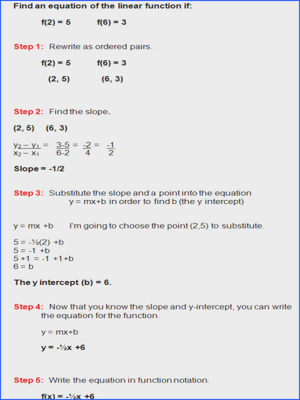 linear functions and finding slope
