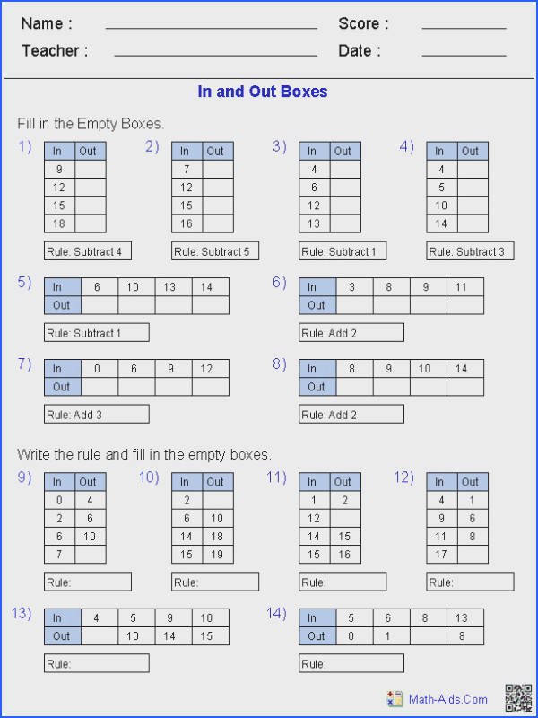 In and Out Boxes for Addition and Subtraction Function Table Worksheets from Linear Functions Worksheet