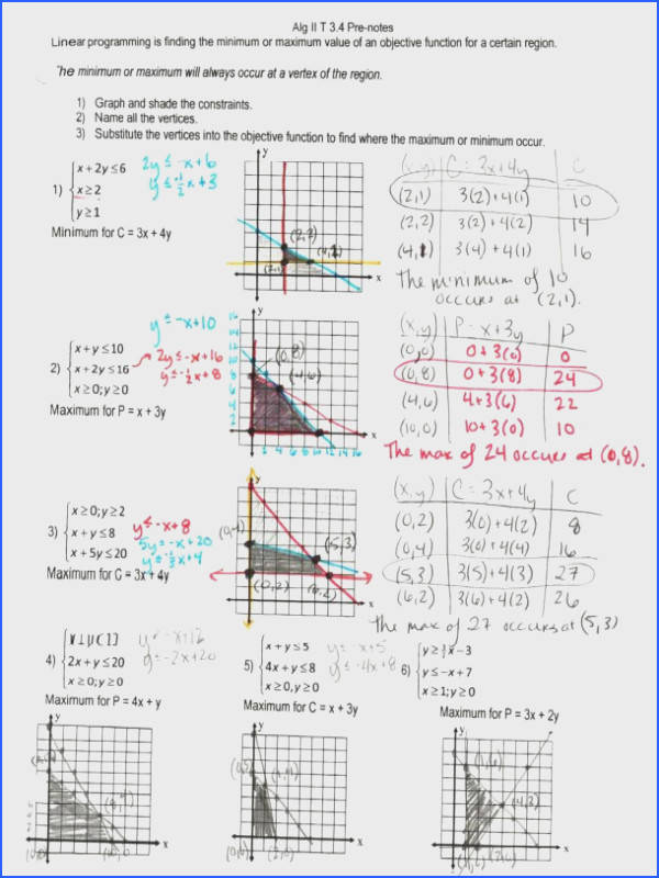 Linear Programming Algebra 1 Worksheets Worksheets for all Download and Worksheets