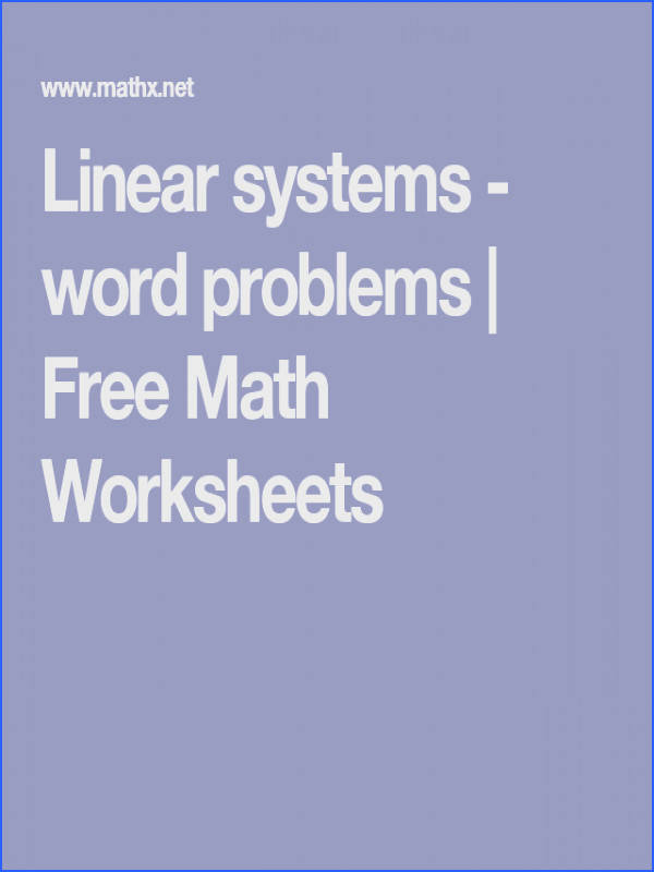 Linear systems word problems