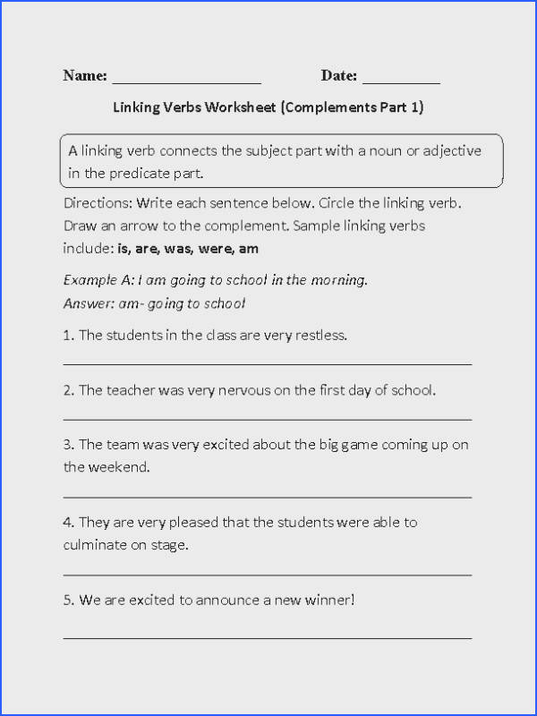 Linking Verbs and plements Worksheet