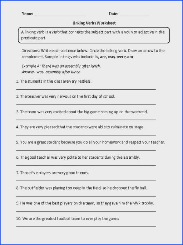 Linking Verbs Worksheet Fill In Part 1 Intermediate Worksheets Pinterest