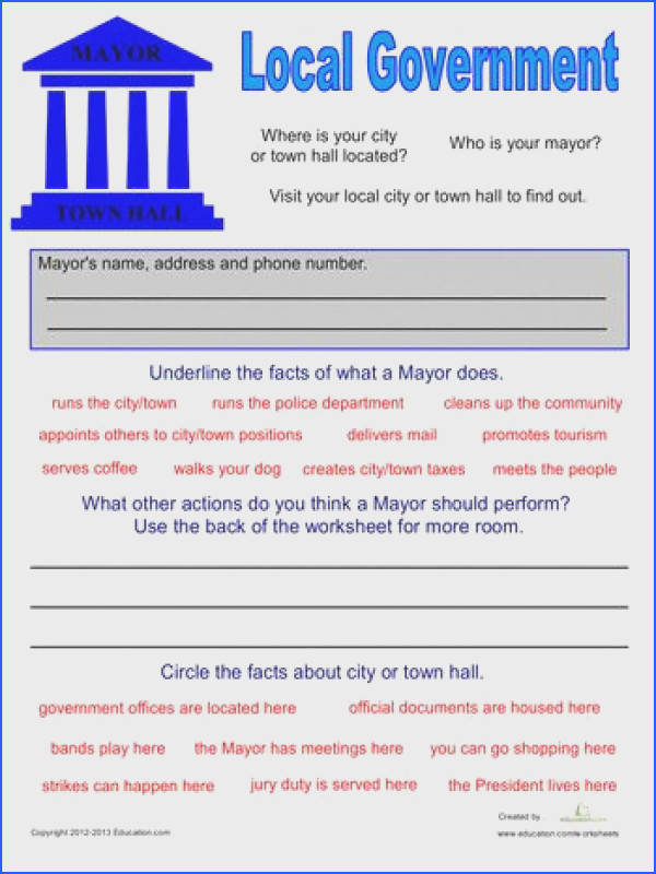 Second Grade Civics & Government munity & Cultures Worksheets Local Government for Kids
