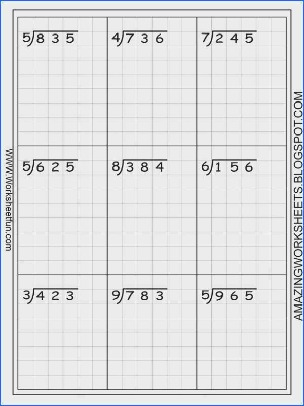 Long division worksheets free using graph paper keeps the numbers