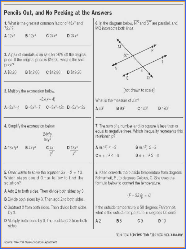 Math Problems For 9th Graders Worksheets Checks Worksheet