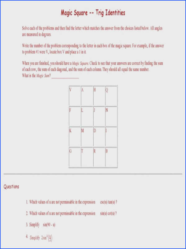 Trigonometric Identities Worksheet Mychaume Com