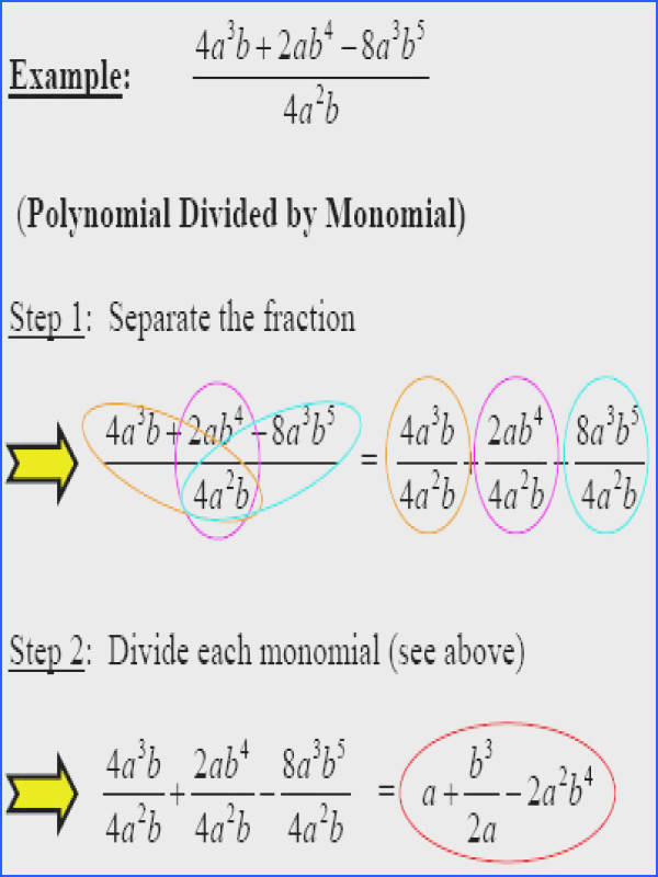 polynomial divided by monomial