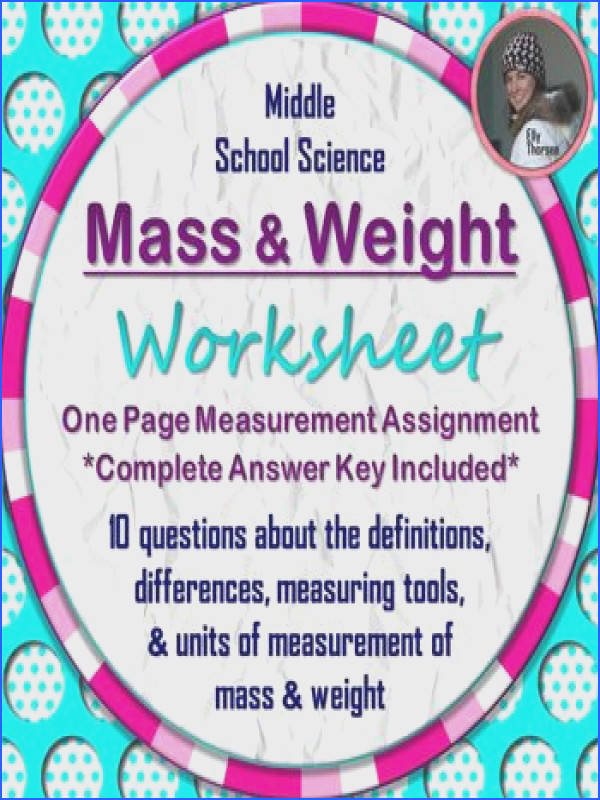 Mass and Weight Worksheet A Science Measurement Resource