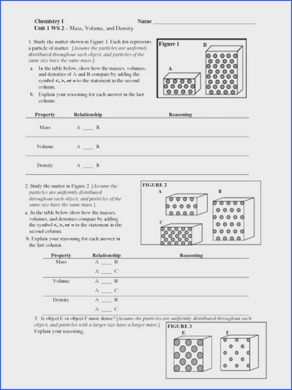 Mass Volume and Density Worksheet for 6th 10th Grade
