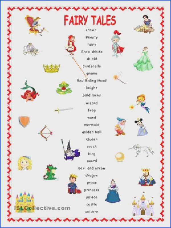 Match the word with its right picture ESL worksheets fairytales and activies Pinterest