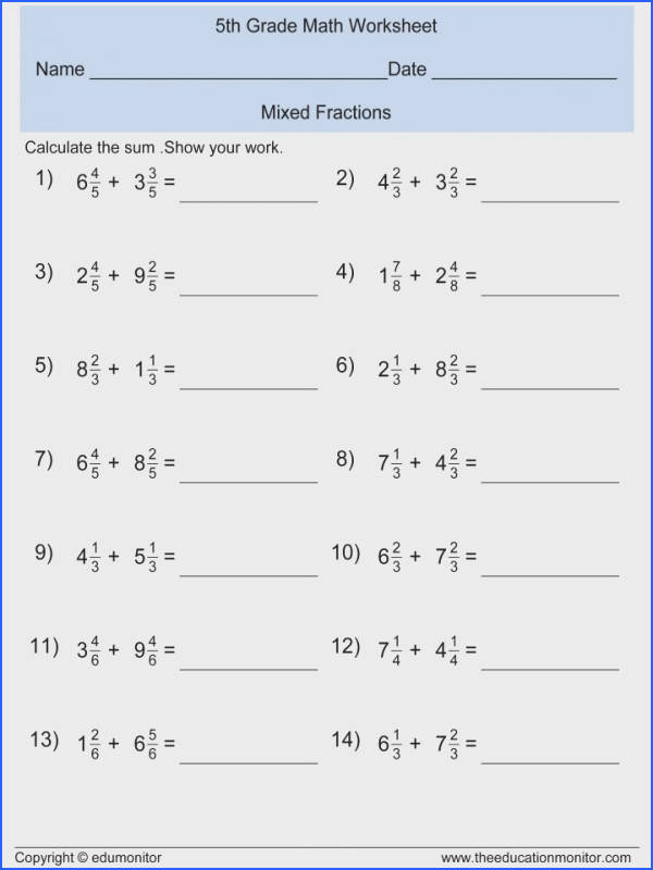 Math Adding And Subtracting Fractions Worksheets With Unlike Denominators Differentiated Worksheet 4th Grade Drills 5th Pdf