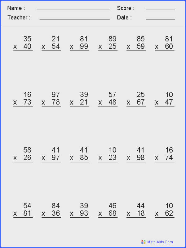 Math Facts Worksheets 5Th Grade Worksheets for all Download and Worksheets