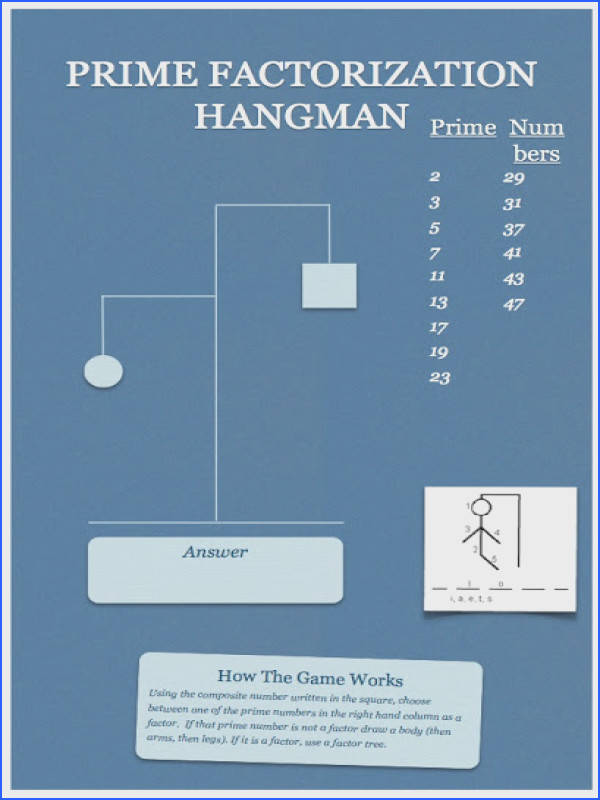 Hands Math Prime Number Factorization Hangman Updated