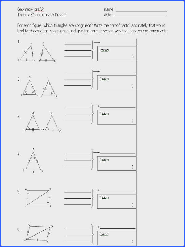 Congruent Triangles Worksheet Mychaume