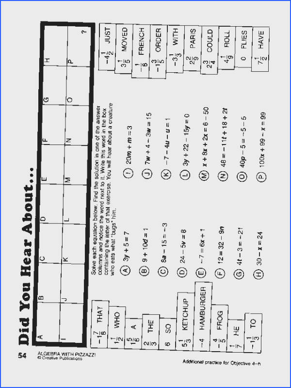 Math With Pizzazz Page 90 Worksheets for all Download and Worksheets