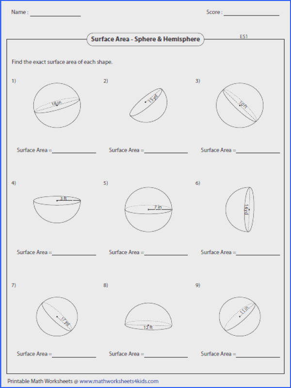 Surface Area of Spheres