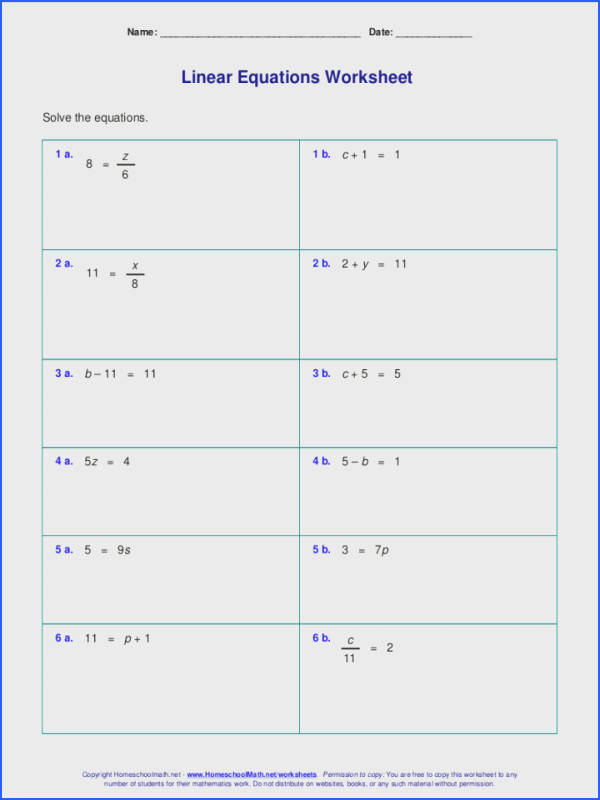 Math Worksheets e Step Equations Easy Algebra Free For Linear Grades Pre 1 Fun Saxon Halloween