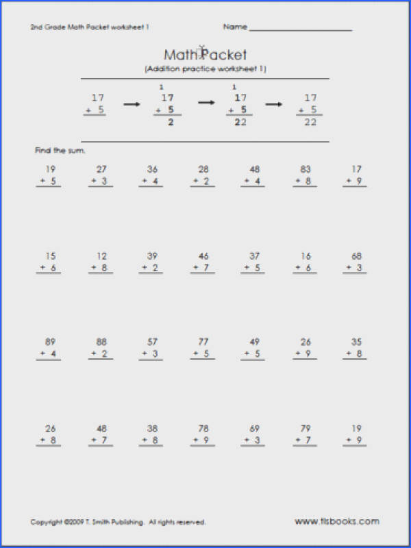 math worksheets for 2nd grade