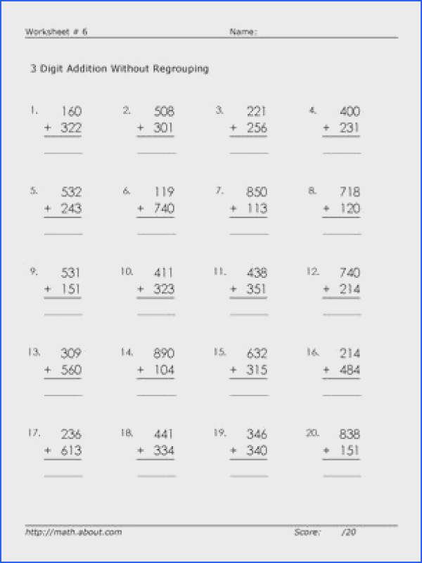 3 Digit Addition Worksheets Here are 3 digit adding worksheets without regrouping so young learners