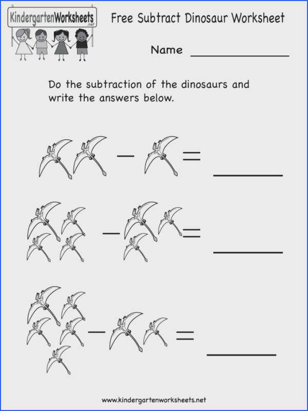 Kindergarten Subtraction Worksheets Free Math Subtract Dinosaur Worksheet Printable With Addition And Mixed For 720