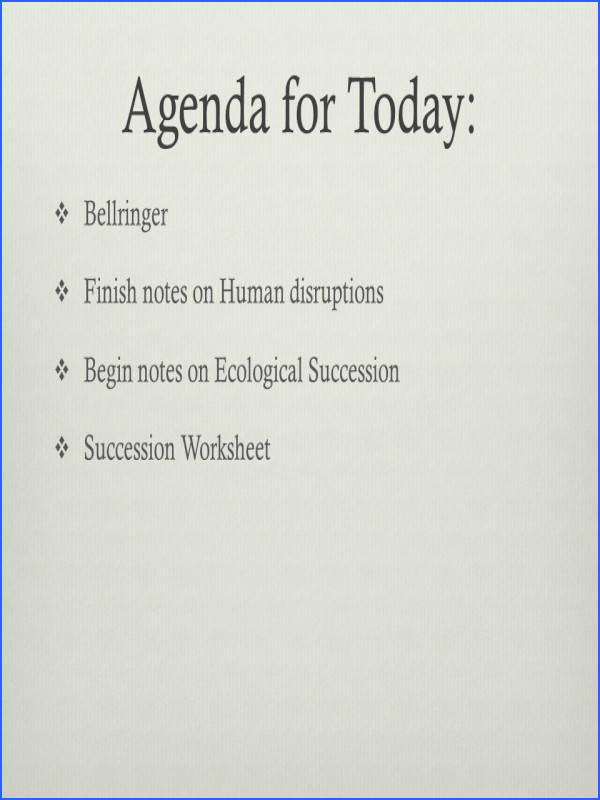94 Agenda for Today  Bellringer  Finish notes on Human disruptions  Begin notes on Ecological Succession  Succession Worksheet