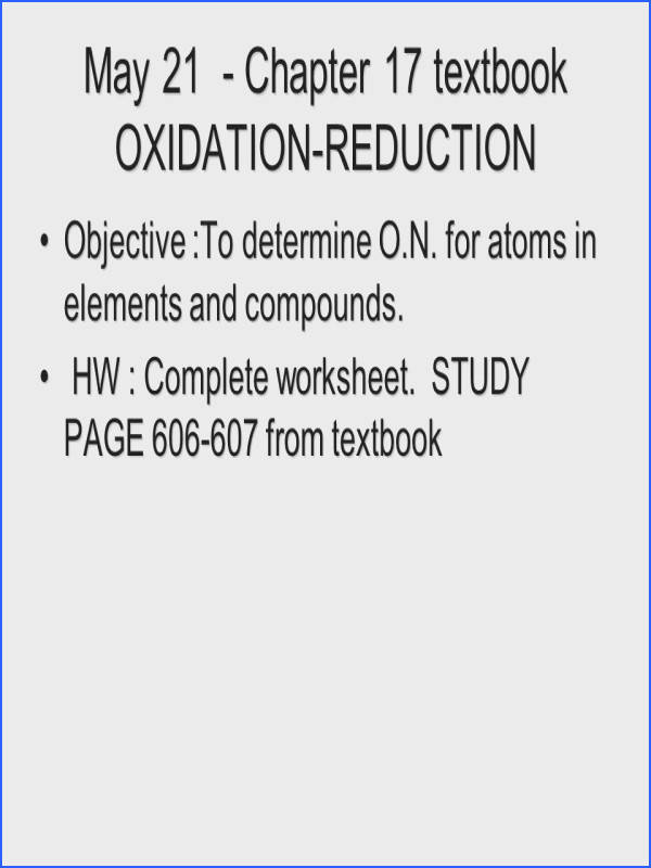 May 21 Chapter 17 textbook OXIDATION REDUCTION