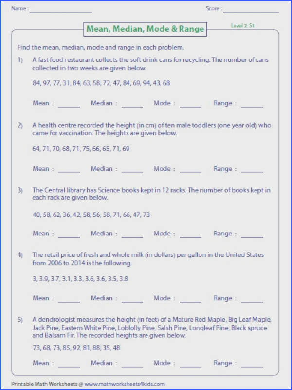 Mean Median Mode and Range Worksheets