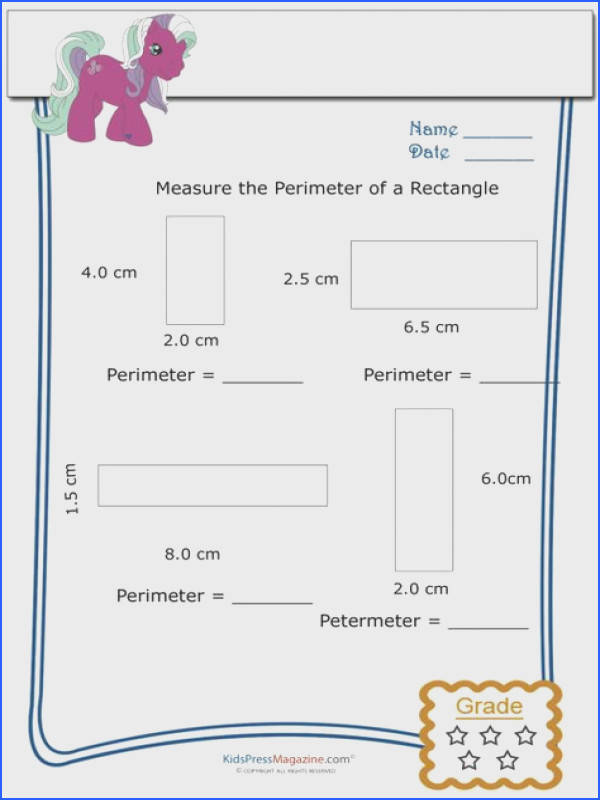 Measure Perimeter Worksheet – Rectangle 2